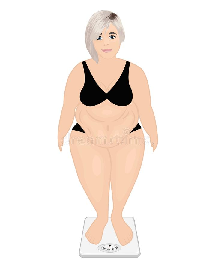 Παχύ κορίτσι σε μια μηχανή βάρους σαν έλεγχο έννοιας ζωνών κοιλιών ανασκόπησης που απομονώνεται μέτρηση της λευκής γυναίκας βάρου διανυσματική απεικόνιση