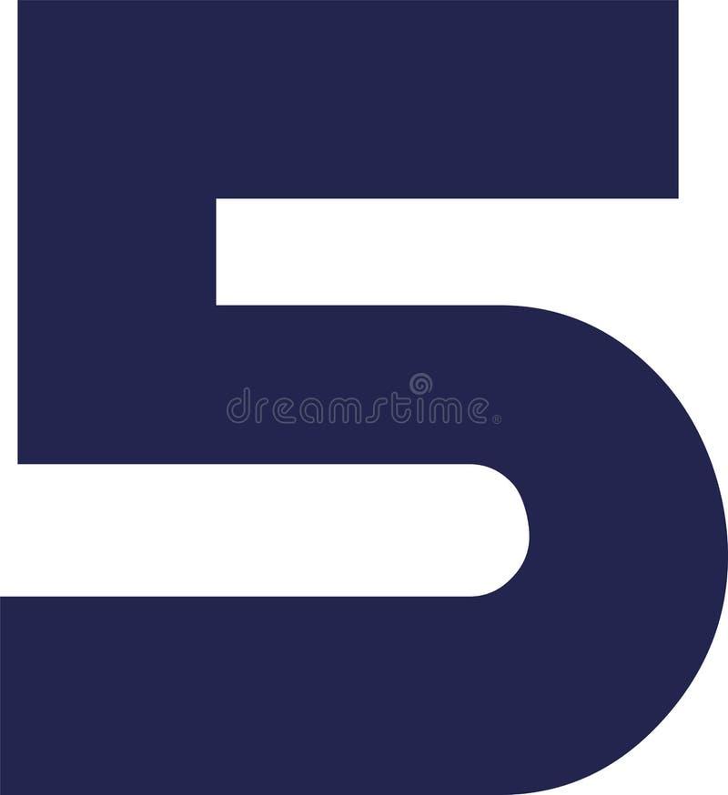 Παχύ ψηφίο 5 αριθμού πέντε διανυσματική απεικόνιση