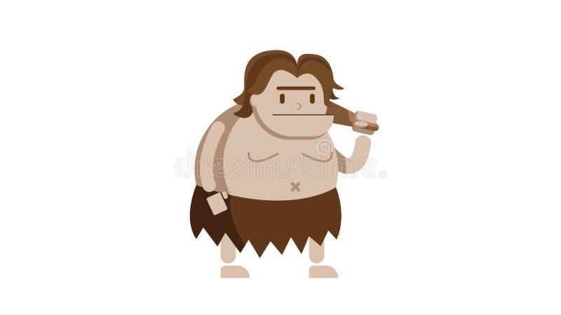 Παχύ caveman και ξύλινο ρόπαλο διανυσματική απεικόνιση