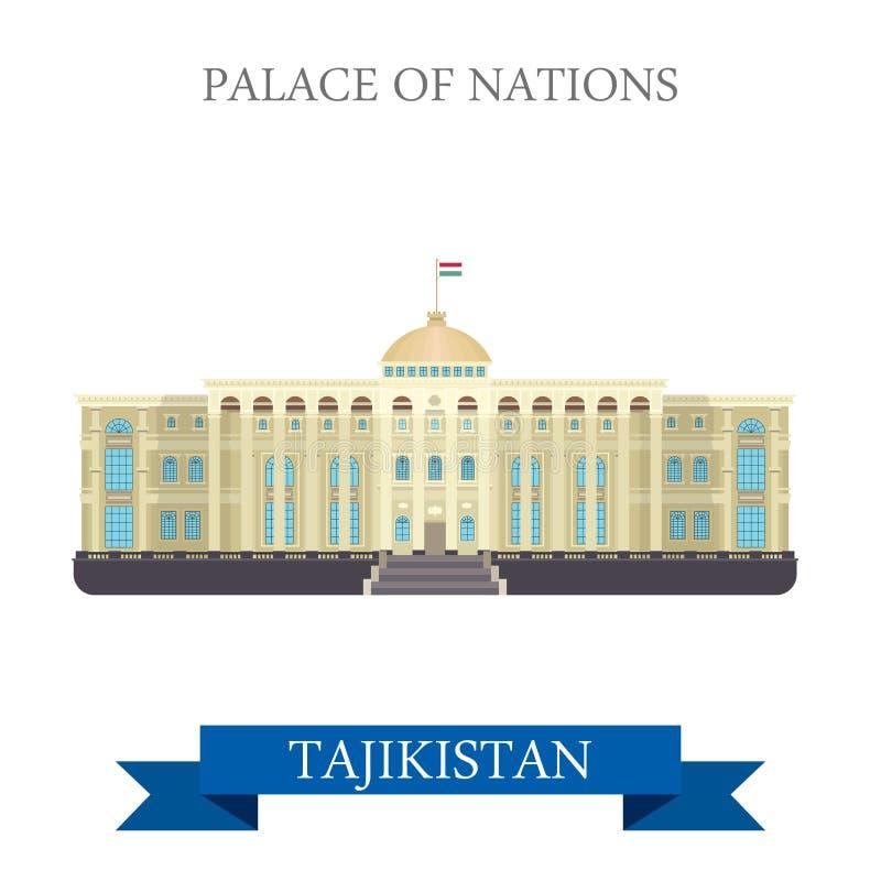 Παλάτι της διανυσματικής επίπεδης έλξης Dushanbe Τατζικιστάν εθνών διανυσματική απεικόνιση