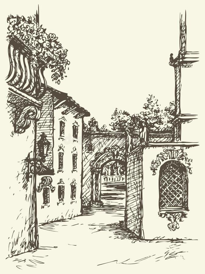 Παλάτι του μεσαιωνικού μοναστηριού eps συμπεριλαμβανόμενο αρχείο διάνυσμα τοπίων ελεύθερη απεικόνιση δικαιώματος