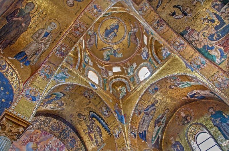Παλέρμο - βυζαντινό μωσαϊκό από την εκκλησία της Σάντα Μαρία dell Ammiraglio ή Λα Martorana στοκ φωτογραφίες