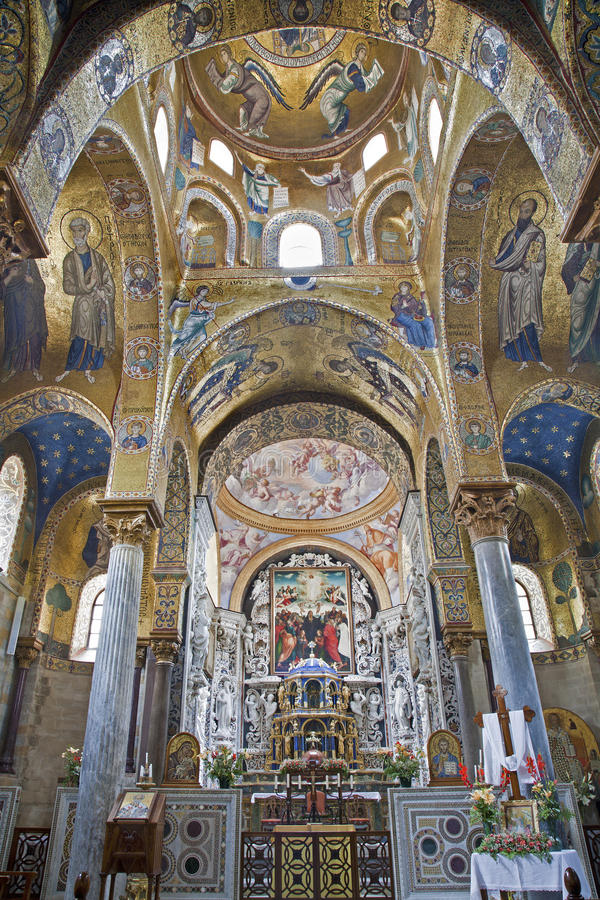 Παλέρμο - βυζαντινό μωσαϊκό από την εκκλησία της Σάντα Μαρία dell Ammiraglio στοκ εικόνες