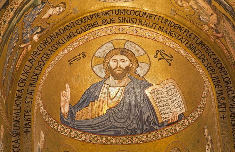 Παλέρμο - μωσαϊκό του Ιησούς Χριστού από Cappella Palatina - υπερώιο παρεκκλησι στοκ φωτογραφίες