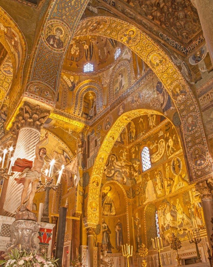 Παλέρμο - μωσαϊκό Cappella Palatina στο νορμανδικό παλάτι στο ύφος της βυζαντινής αρχιτεκτονικής από τα έτη 1132 - 1170 στοκ φωτογραφία