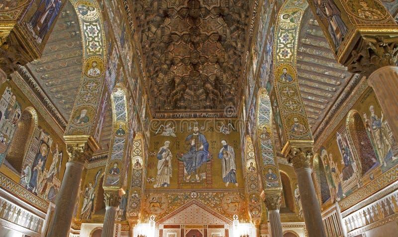 Παλέρμο - μωσαϊκό Cappella Palatina - υπερώιο παρεκκλησι στοκ εικόνες