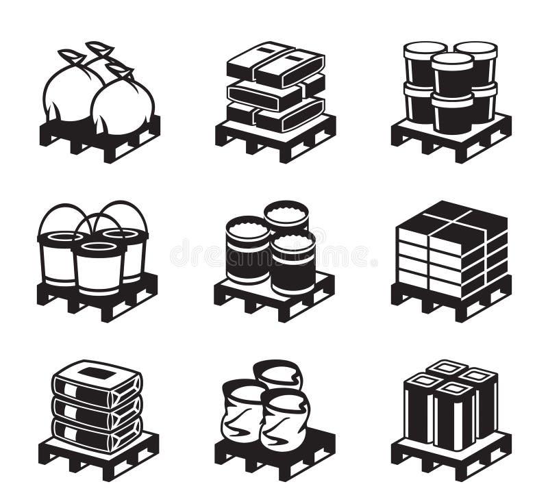 Παλέτες με τα οικοδομικά υλικά ελεύθερη απεικόνιση δικαιώματος