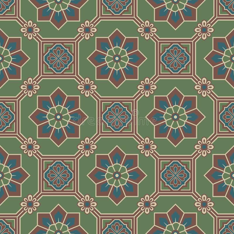 Παλαιά άνευ ραφής εικόνα υποβάθρου του ασιατικού πράσινου διαγώνιου λουλουδιού πλαισίων οκταγώνων τετραγωνικού απεικόνιση αποθεμάτων
