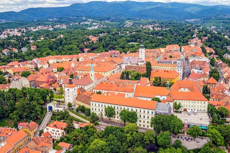 Παλαιά ανώτερη πόλη στο Ζάγκρεμπ στοκ εικόνες