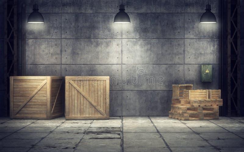 Παλαιά αποθήκη εμπορευμάτων μέσα τρισδιάστατη απόδοση ελεύθερη απεικόνιση δικαιώματος