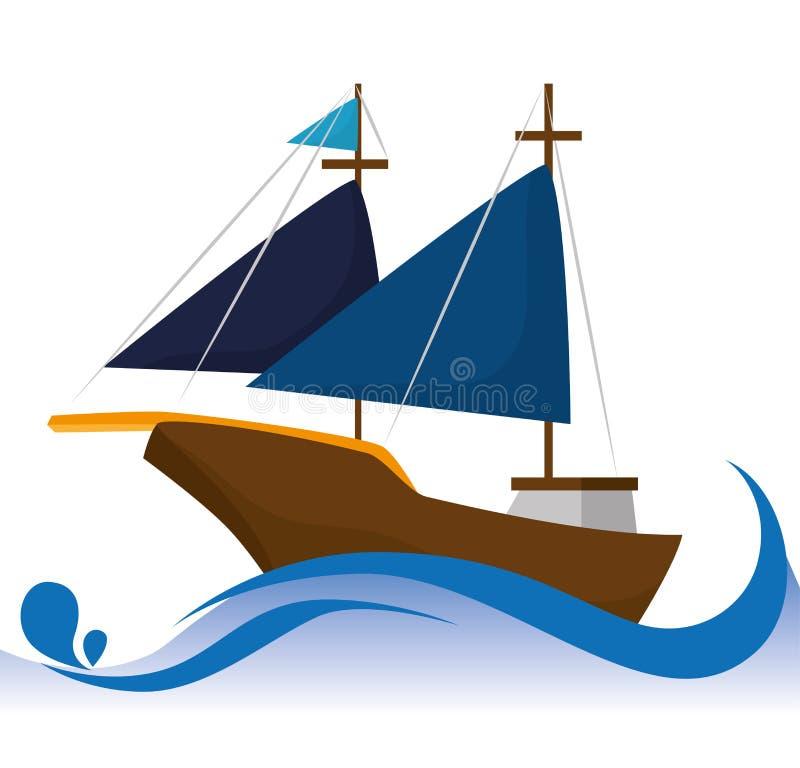 Παλαιά βάρκα πανιών ελεύθερη απεικόνιση δικαιώματος