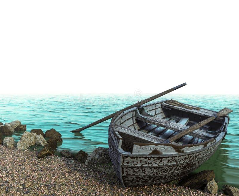 Παλαιά βάρκα σε μια παραλία χαλικιών στο άσπρο υπόβαθρο απομονώσεων στοκ φωτογραφία
