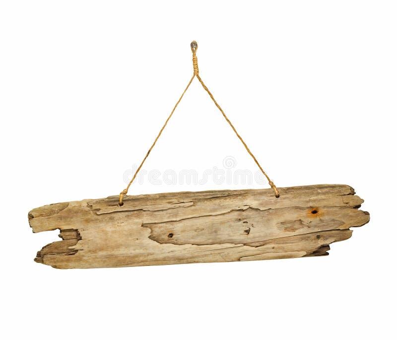 Ξύλινος πίνακας σημαδιών Driftwood στη σειρά στοκ φωτογραφία με δικαίωμα ελεύθερης χρήσης
