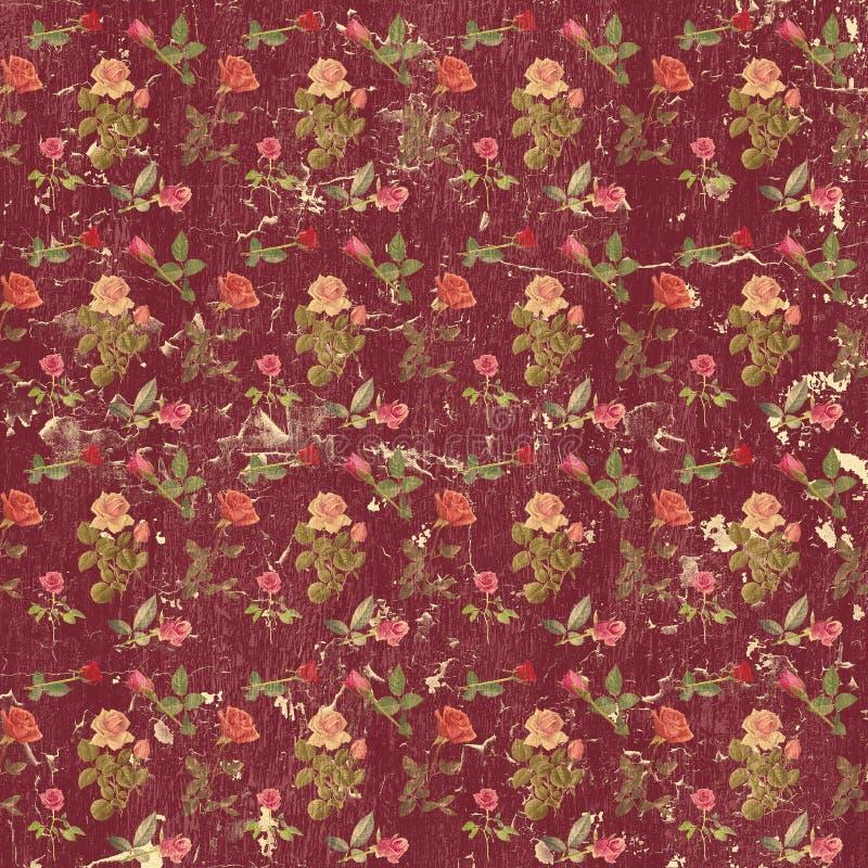Παλαιά βρώμικη ταπετσαρία τριαντάφυλλων στοκ εικόνα με δικαίωμα ελεύθερης χρήσης