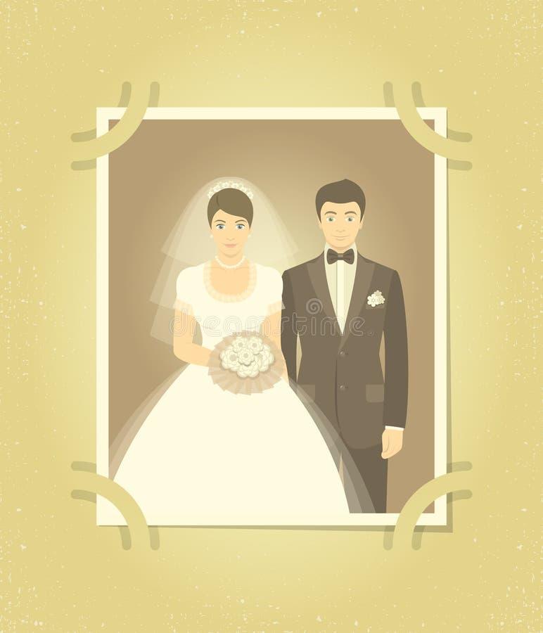 Παλαιά γαμήλια φωτογραφία στο οικογενειακό λεύκωμα απεικόνιση αποθεμάτων