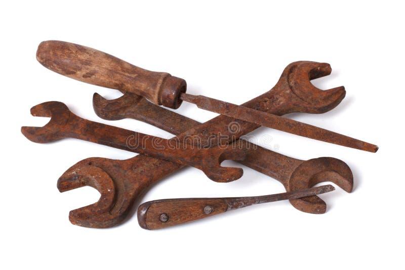 Παλαιά γαλλικά κλειδιά και αρχεία σιδηρουργείου που απομονώνονται στο λευκό στοκ εικόνα με δικαίωμα ελεύθερης χρήσης