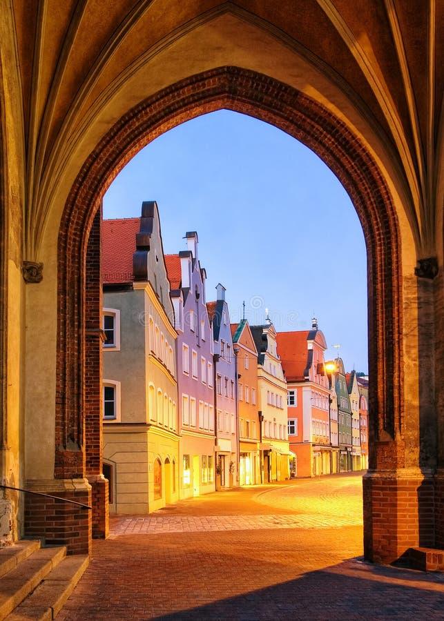 Παλαιά γοτθική πόλη Landshut, Βαυαρία, Γερμανία στοκ εικόνες