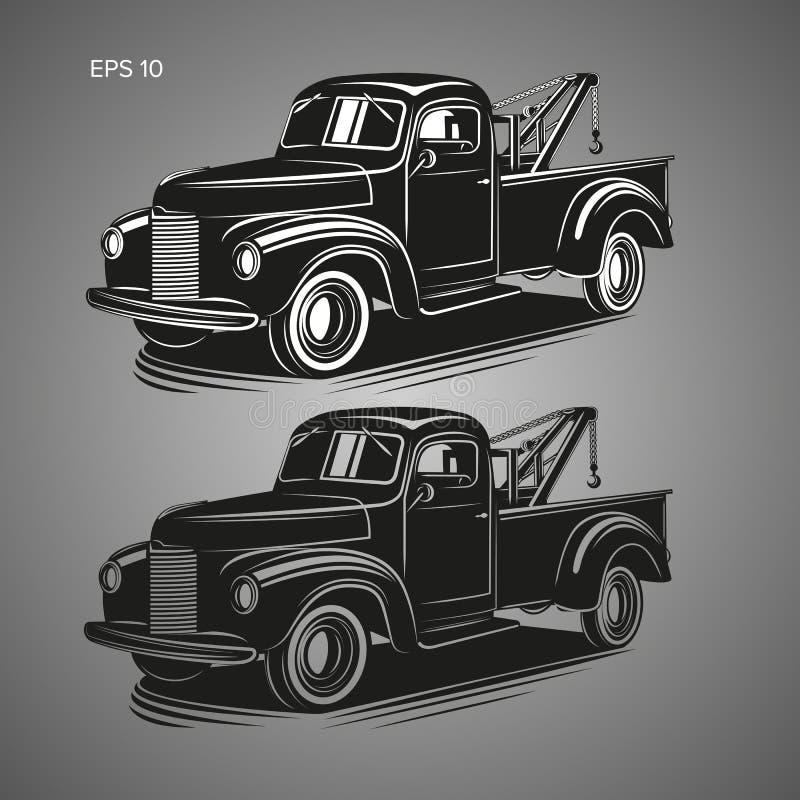 Παλαιά εκλεκτής ποιότητας διανυσματική απεικόνιση φορτηγών ρυμούλκησης Αναδρομικό όχημα υπηρεσιών Μαύρο άσπρο και μαύρο διαφανές  απεικόνιση αποθεμάτων