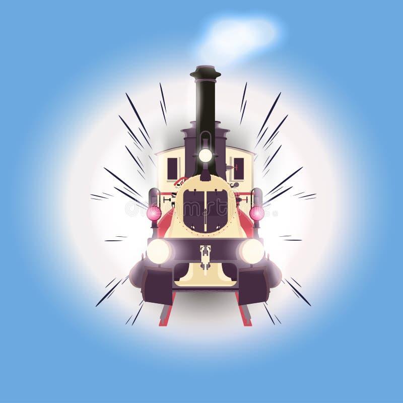 Παλαιά εκλεκτής ποιότητας διανυσματική ατμομηχανή τραίνων μεταφορών διανυσματική απεικόνιση