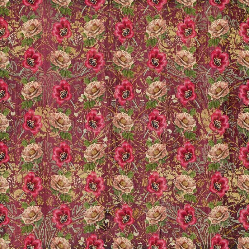 Παλαιά εκλεκτής ποιότητας ταπετσαρία λουλουδιών ταπήτων διανυσματική απεικόνιση