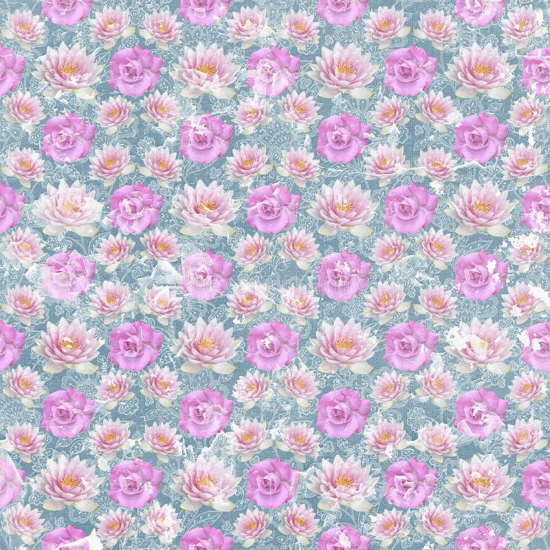 Παλαιά εκλεκτής ποιότητας shabby ταπετσαρία λουλουδιών διανυσματική απεικόνιση