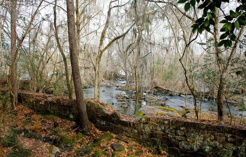Παλαιά εργοστάσιο & x22 ποταμών Saluda Το Remains& x22  στοκ φωτογραφίες με δικαίωμα ελεύθερης χρήσης