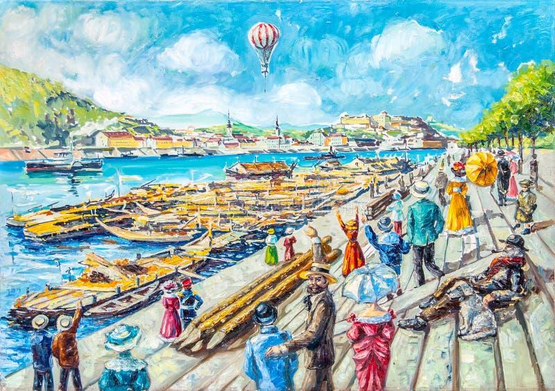παλαιά ζωγραφική πετρελ&alp διανυσματική απεικόνιση