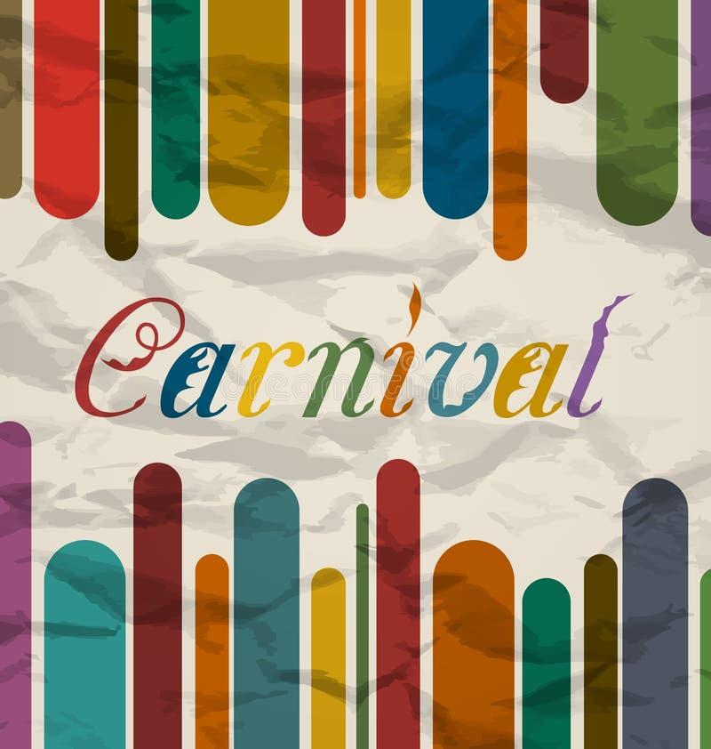 Παλαιά ζωηρόχρωμη κάρτα με το κείμενο για το φεστιβάλ καρναβαλιού ελεύθερη απεικόνιση δικαιώματος