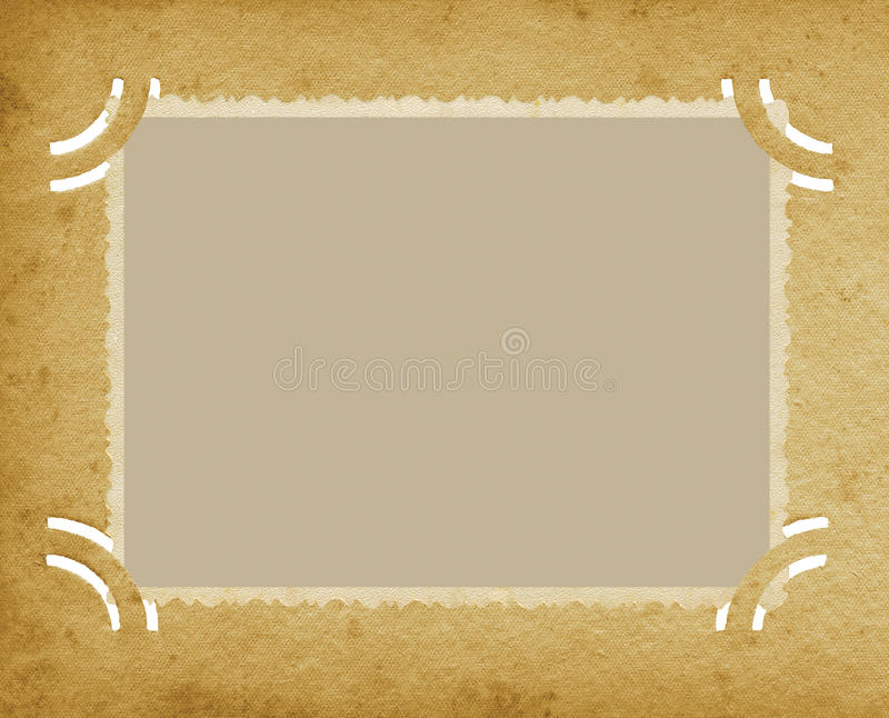 Παλαιά ηλικίας οριζόντια φωτογραφία ακρών στο κατασκευασμένο εκλεκτής ποιότητας αναδρομικό λεύκωμα Grunge, κενό κενό υπόβαθρο σελ διανυσματική απεικόνιση