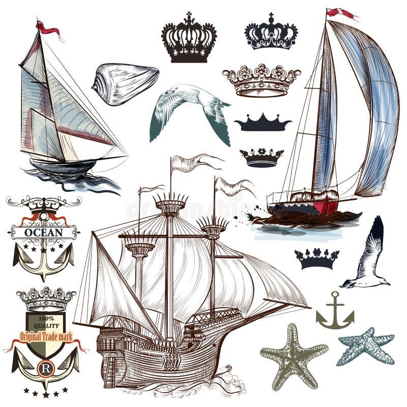 Παλαιά θαλάσσια συλλογή με τα σκάφη, κορώνες, άγκυρες στον τρύγο ελεύθερη απεικόνιση δικαιώματος