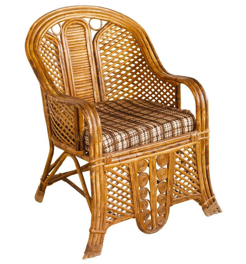 Παλαιά ινδική ξύλινη ψάθινη πολυθρόνα που απομονώνεται στο λευκό στοκ εικόνες με δικαίωμα ελεύθερης χρήσης