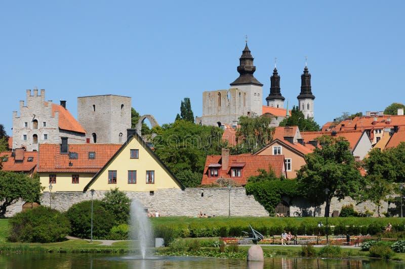 Παλαιά και γραφική πόλη visby στοκ φωτογραφίες