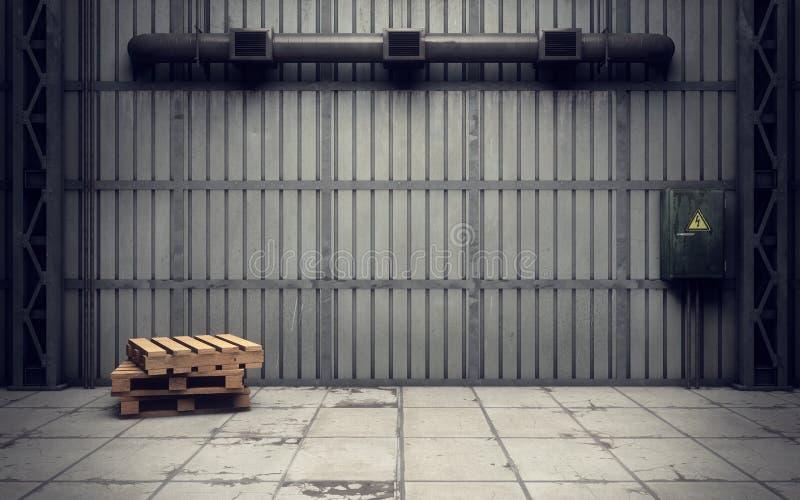 Παλαιά κενή αποθήκη εμπορευμάτων ελεύθερη απεικόνιση δικαιώματος