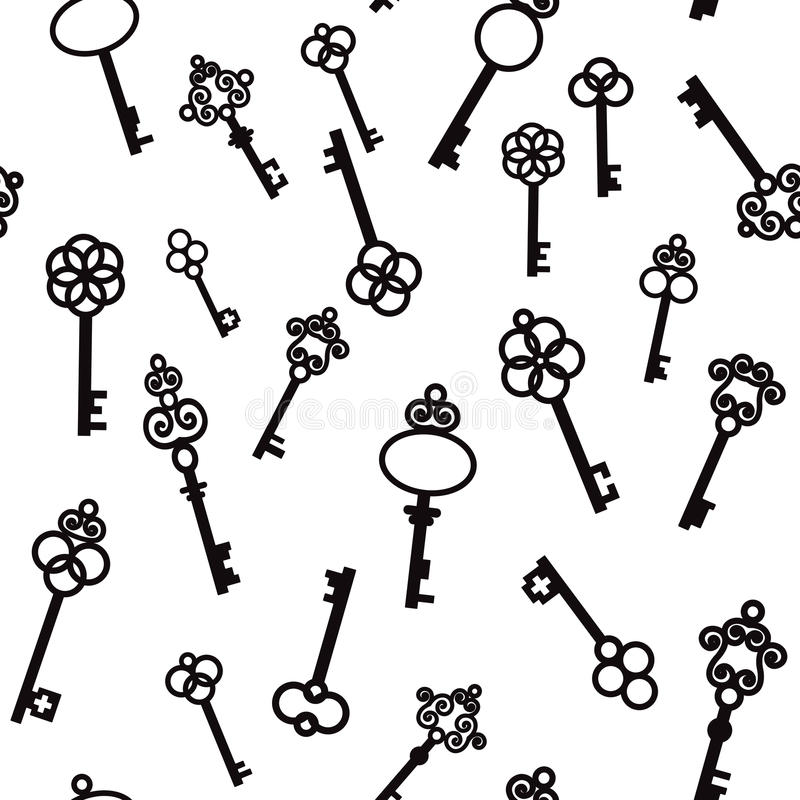 Παλαιά κλειδιά με τα διακοσμητικά στοιχεία στο αναδρομικό ύφος απεικόνιση αποθεμάτων