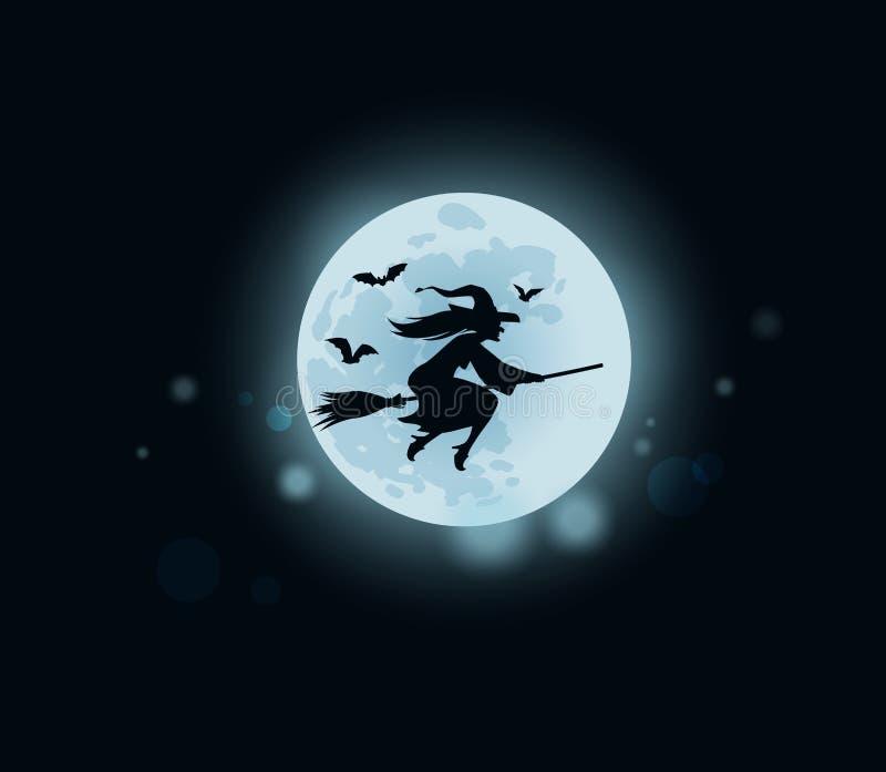 Παλαιά μάγισσα που πετά στο σκουπόξυλο στα μεσάνυχτα επίσης corel σύρετε το διάνυσμα απεικόνισης ελεύθερη απεικόνιση δικαιώματος