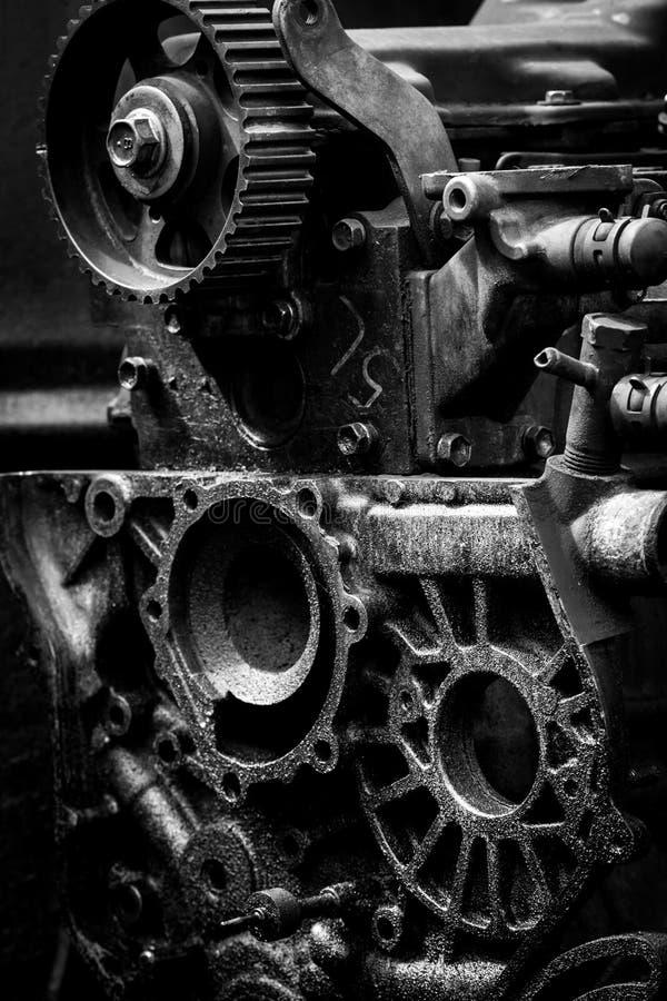 Παλαιά μηχανή αυτοκινήτων, γραπτή φωτογραφία στοκ φωτογραφία