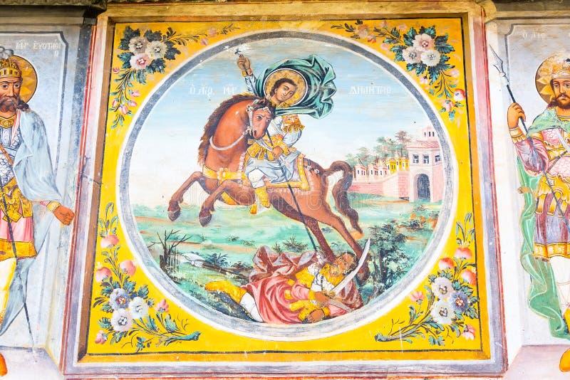 Παλαιά νωπογραφία στην εκκλησία στο μοναστήρι Bachkovo, Βουλγαρία στοκ εικόνα