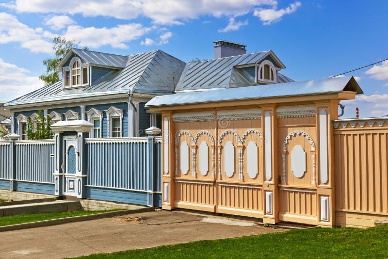 Παλαιά ξύλινα σπίτια σε Kolomna Κρεμλίνο - περιοχή της Μόσχας - Ρωσία στοκ φωτογραφίες με δικαίωμα ελεύθερης χρήσης