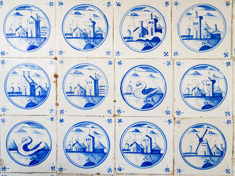 Παλαιά ολλανδικά κεραμίδια διανυσματική απεικόνιση