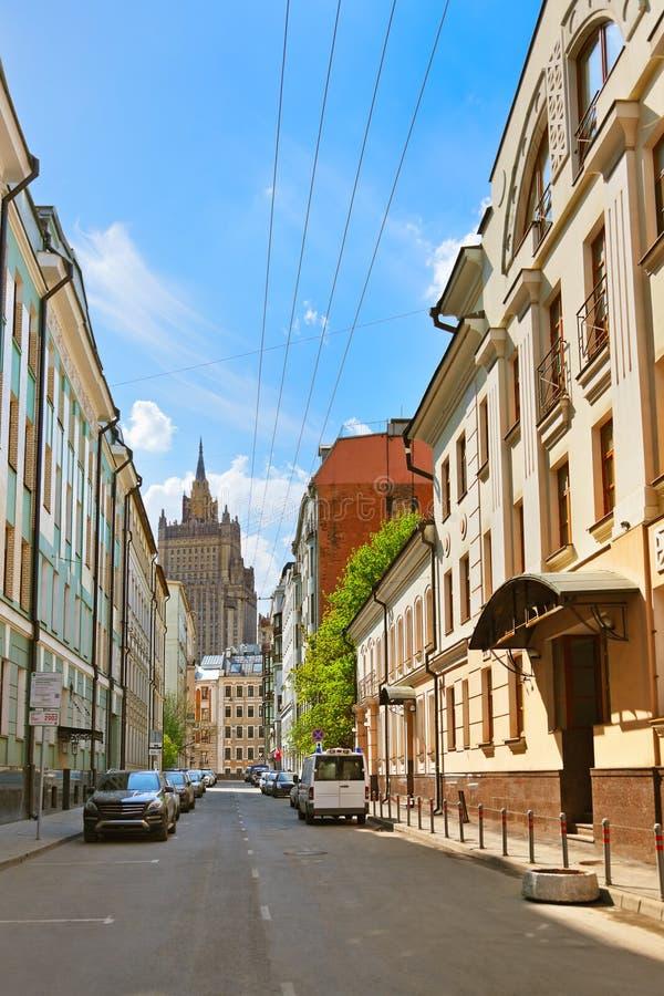 Παλαιά οδός στο κέντρο της Μόσχας Ρωσία στοκ φωτογραφία με δικαίωμα ελεύθερης χρήσης