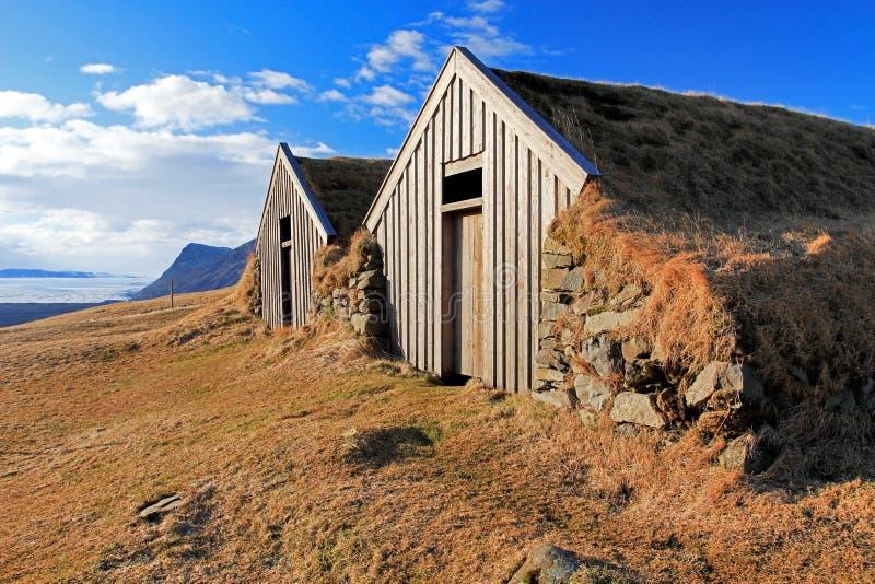 Παλαιά παραδοσιακά ισλανδικά σπίτια, Skaftafell, Ισλανδία στοκ φωτογραφία με δικαίωμα ελεύθερης χρήσης