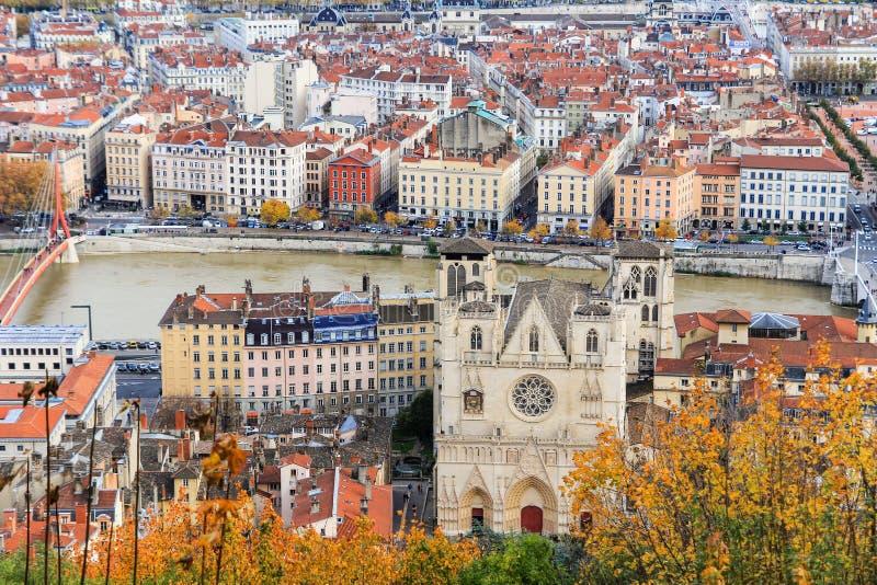 Παλαιά πόλη και ο καθεδρικός ναός Άγιος Jean, Γαλλία της Λυών στοκ φωτογραφία με δικαίωμα ελεύθερης χρήσης