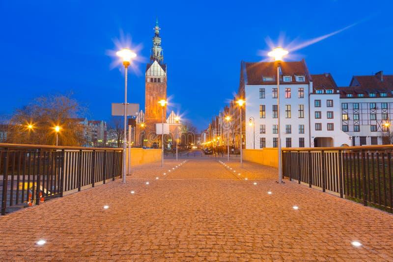 Παλαιά πόλη Elblag τη νύχτα στοκ εικόνα