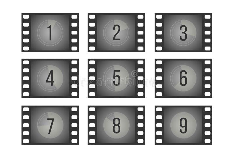 Παλαιά πλαίσια κινηματογράφων αντίστροφης μέτρησης ταινιών κινηματογράφων με το διανυσματικό σύνολο αριθμών διανυσματική απεικόνιση