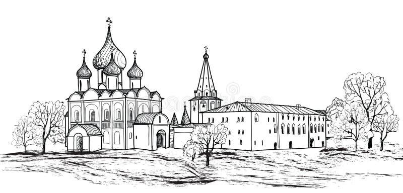 Παλαιά ρωσική συρμένη χέρι απεικόνιση πόλης τοπίων. Σούζνταλ Κρεμλίνο. Άποψη της εικονικής παράστασης πόλης του Σούζνταλ. Το χρυσό διανυσματική απεικόνιση