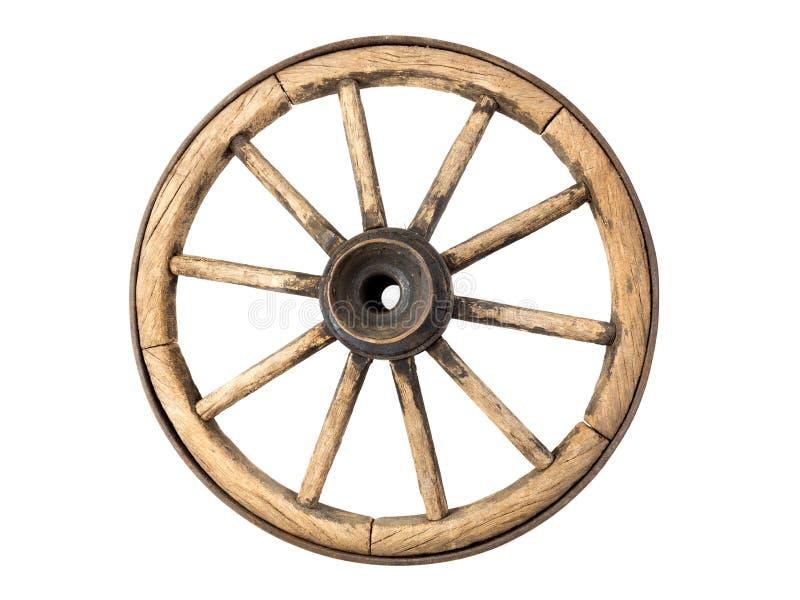 παλαιά ρόδα βαγονιών εμπορευμάτων ξύλινη στοκ εικόνα