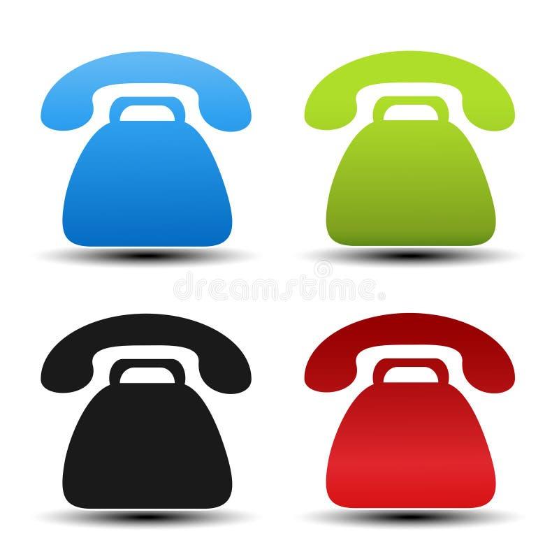 Παλαιά τηλεφωνικά σύμβολα στο άσπρο υπόβαθρο Κουμπιά επαφών, ετικέτες στο μπλε, πράσινο, μαύρο και κόκκινο χρώμα Απλές τηλεφωνικέ απεικόνιση αποθεμάτων