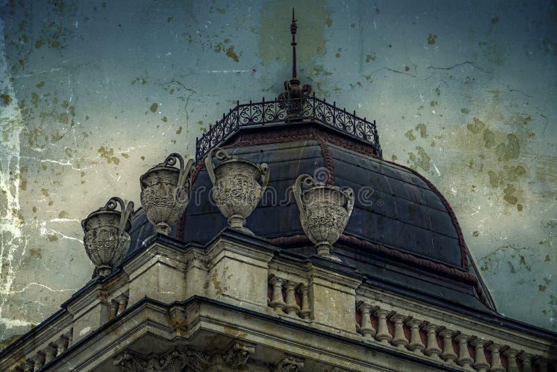Παλαιά φωτογραφία με την πρόσοψη στο κλασσικό κτήριο Βελιγράδι, Σερβία 4 στοκ εικόνα με δικαίωμα ελεύθερης χρήσης