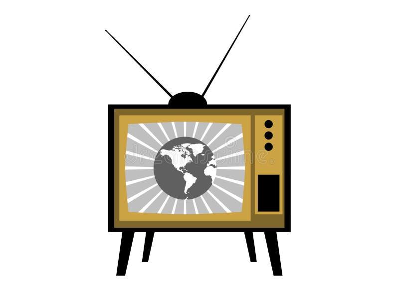 Παλαιά TV με τις κεραίες Αναδρομικό εικονίδιο TV διάνυσμα απεικόνιση αποθεμάτων