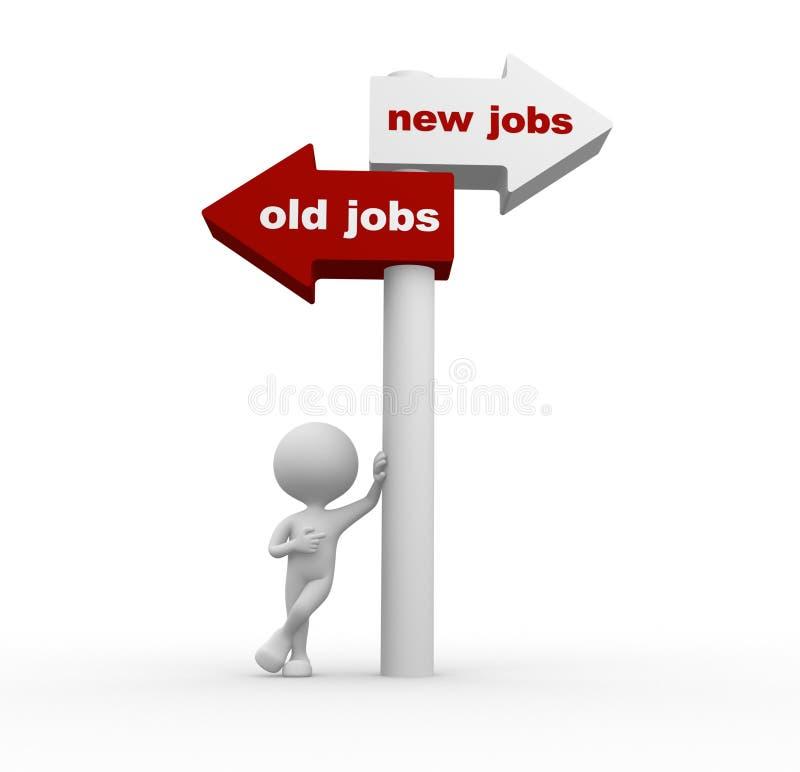 Παλαιές εργασίες ή νέες θέσεις διανυσματική απεικόνιση